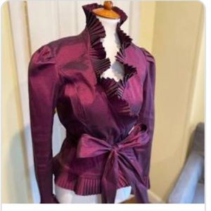 JS Boutique stunning purple ruffle belted blouse
